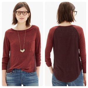 Madewell Curveball Tee Red Colorblock Linen
